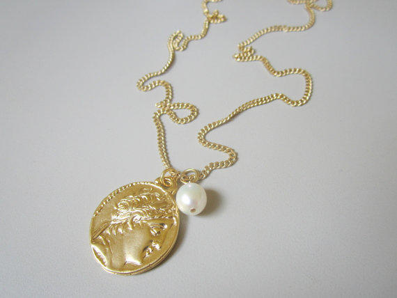 Long Roman coin and pearl necklace, Long gold necklace, Roman figure coin necklace, Vintage necklace
