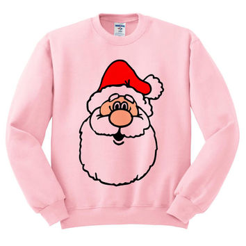 Pink Crewneck Jolly Santa Face Ugly Christmas Sweatshirt Sweater Jumper Pullover