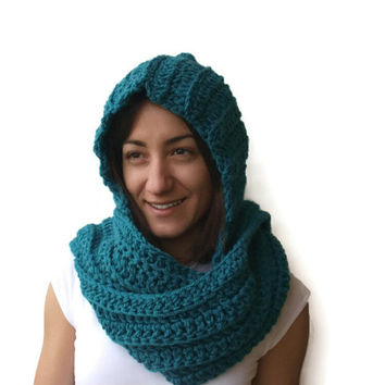 Hooded Scarf in Petrol Handmade Hooded Scarf for Women Winter Accessories,Crochet Scoodie