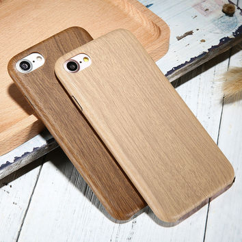 For iPhone 5 5s SE 6 6s 7Plus Slim Case Retro Vintage Wood Pattern Leather PU Cases Back Cover Phone