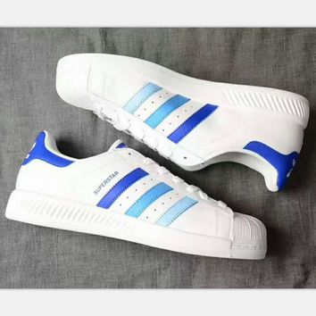 ADIDAS Superstar Shell Toe Women Casual Running Sport Shoes Sneakers White(blue-light blue line )H-PSXY 1