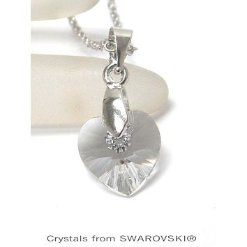 Genuine Swarovski Clear Crystal Semplice Heart Pendant Necklace
