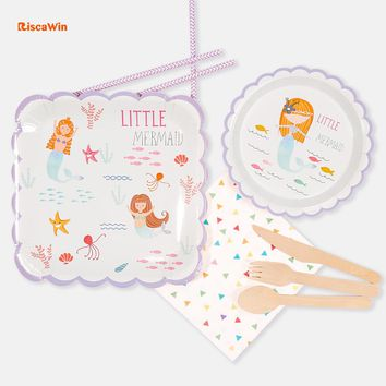 Riscawin Mermaid Disposable Tableware Birthday Party Paper Plates Cups Decoration For 10 Packs Baby Shower Supplies For Kids