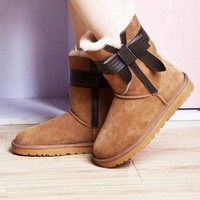 UGG Winter Classic Women Men Bowknot Flats Leather Boots Half Boots Shoes