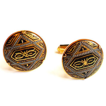 Vintage Damascene Cuff Links - Gold Silver Black Design Cufflinks - Art Deco Circle Cuff Links - Groom Husband Father Gift