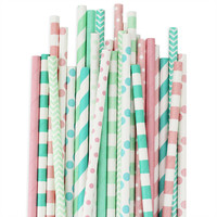 Pink Mint Aqua Paper Straw Assortment