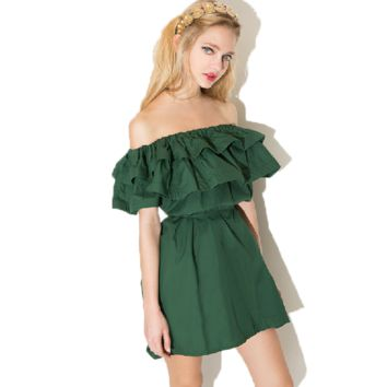 Layered Flounce Strapless Tube Dress
