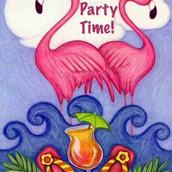Toland Home Garden Get Your Pink On 12.5 x 18 Inch Decorative Tropical Summer Party Time Flamingo Cocktail Garden Flag