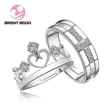 Bright Moon JEWELS 925 Silver Ring Set with CZ Fine Jewellry for Women Men Resizable Real Crown 925 Sterling Silver Jewelry 2017