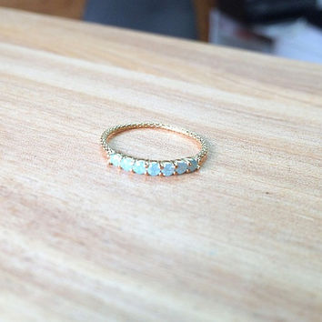 Thin opal ring - Opal ring - Opal ring gold, (5.5)