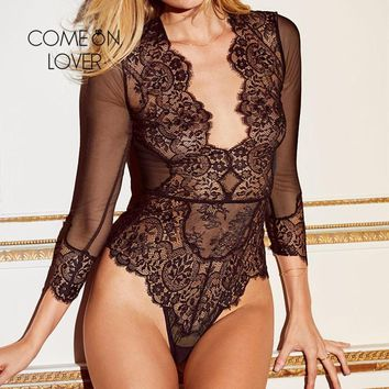 Comeonlover Lace Elegant Jumpsuit Sexy Bodysuit Playsuit V Neck Long Sleeve Women Bodysuit Plus Size Bodysuit Sexy RI80400