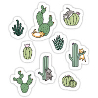'Cacti Cats' Sticker by Shopzoki