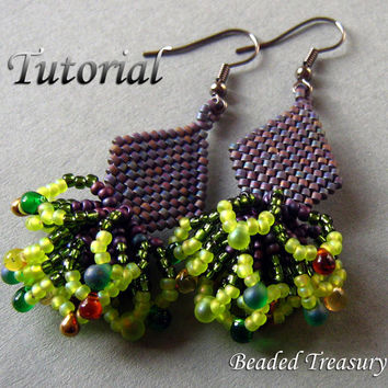 "Beadweaving tutorial for ""Peacock Tail"" earrings / Beading tutorial / Earring tutorial / Beaded earrings / Purple, peacock / TUTORIAL ONLY"