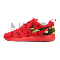 Camouflage Nike Roshe One Varsity Red Custom Men