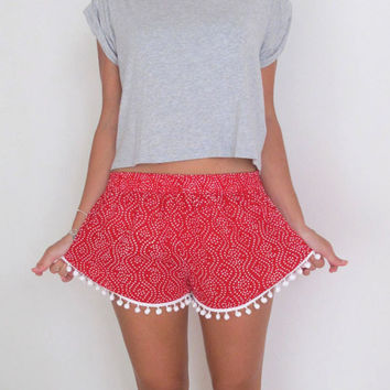 Printed Elastic Waist Shorts with Pom Decor
