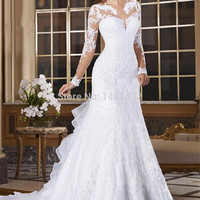 Vestido de noiva See Through Back Mermaid Wedding Dress Long Sleeves Lace Wedding Dress 2015 vestido de casamento wedding dress