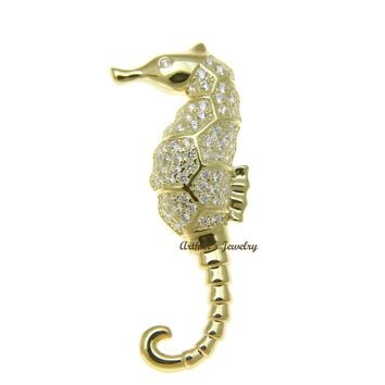 YELLOW GOLD PLATED 925 STERLING SILVER HAWAIIAN SEAHORSE PENDANT BLING CZ 15MM