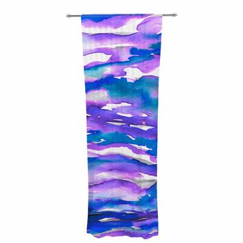 "Ebi Emporium ""Flutter, Blue Purple"" Blue Purple Watercolor Decorative Sheer Curtain"