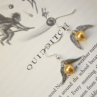Harry Potter Hogwarts Quidditch Golden Snitch Earrings