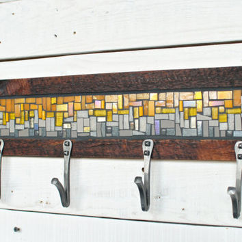 Entryway Coat Hooks, Wall Coat Rack, Mosaic Coat Rack, Hand-forged Hooks, Reclaimed Wood Frame