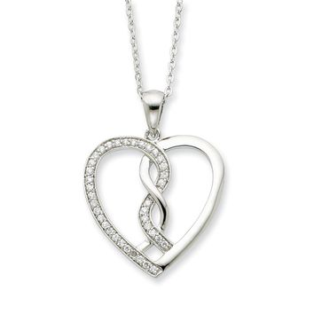 Rhodium Plated Sterling Silver & CZ Hearts Joined Together Necklace
