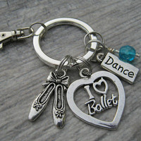 I Love Ballet Keychain, Ballerina Zipper Pull, Ballet Personalized Accessory, Athletic Keychain Lanyard, Dance Gift, Ballet Mom Keychain