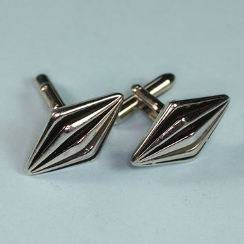 Swank Silver Tone and Black Enameled Cuff Links Cufflinks Vintage