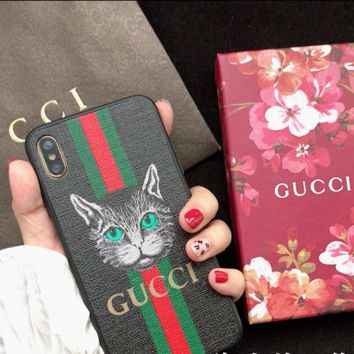 Black Cat GUCCI Cover Case for iPhone 6 7 8 PLUS XSMAX XR