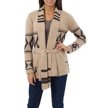Andean Sierra 100-percent Alpaca Beige Patterned with Pockets, Shawl Collar and Self Tie Belt Womens Long Sweater Jacket (Peru)