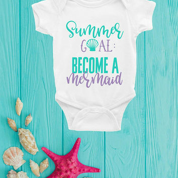 Mermaid Baby Clothes, Mermaid Bodysuit, Mermaid Romper, Summer Goal Become A Mermaid, Mermaid Baby Outfit, Funny Baby Romper, Girls Romper