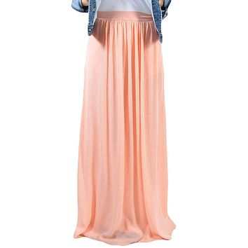 Pink Elastic Waist Pleated Gauze Maxi Skirt with Lining