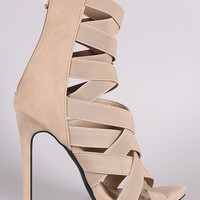 Suede Elasticized Woven Strappy Stiletto Heel