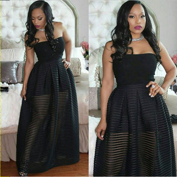 Black Strapless Sheer Overlay Pleated Maxi Dress