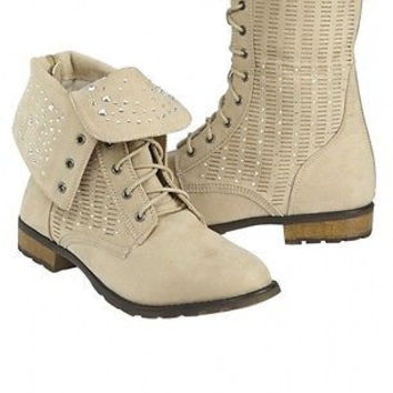 Justice Girl's Perforated Foldover Boots in Sand Size 8 Retail $59.90 NWT