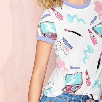 Cartoon Make Up Printed Casual Shirt