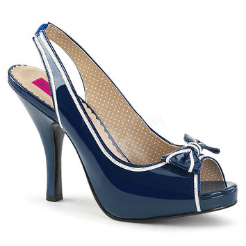 "Pin Up 10 Navy Blue Patent Slingback 4.5"" Heel White Trim"