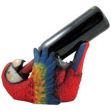 Tropical Parrot Wine Bottle Holder As a Display Stand Statue for Whimsical Beach Bar or Nautical Dining Room Tabletop Wine Rack Decor or Decorative Macaw and Bird Sculptures