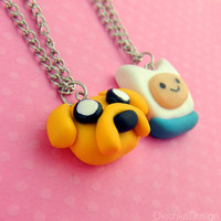 Adventure Time Jake and Finn Pendant Necklace Best Friends Plymer Clay