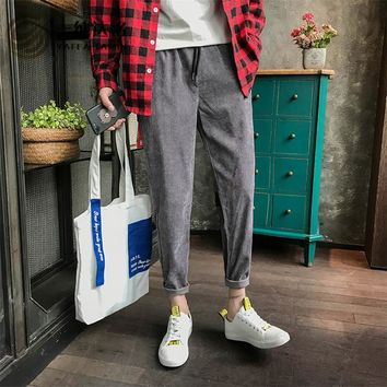 Casual Corduroy Trousers Men Harem Pants long pants High Street men clothing Pleated Drawstring Spliced style male Trousers