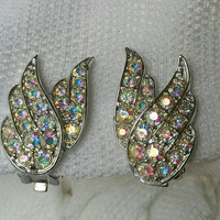 Vintage Sarah Coventry Emmons Aurora Borealis Rhinestone Silver Plated Wing Earrings