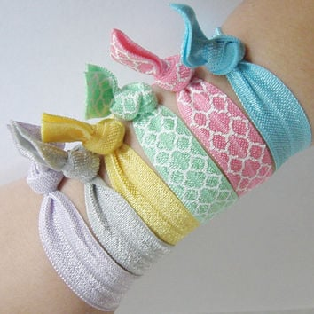 Set Of 6 Hair Ties Mint Pink Yellow Gray Lavender Turquoise  Solid Quatrefoil Yoga Bracelet No Crease