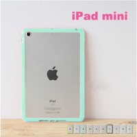 iPad Mini / Mini 2 Retina / Mini 3 Hybrid Bumper Case, ANLEY Candy Trim Series - [1.5mm Slim Fit] [Shock Absorption] Jelly Silicone Bumper with Frosted Clear Hard Back Cover for Apple iPad Mini 3, 2 & 1 (Coral Pink) + Free Ultra Clear Screen Protector Film