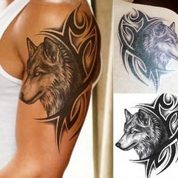Hot Sticker Wolf Head Waterproof Tattoo Body Large Arm Leg Art New Temporary Removable