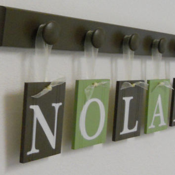 Nursery Decorations Wooden Letters. Set Includes 5 Hangers and Custom Baby Name NOLAN Painted Light Green and Brown Personalized Baby Gift