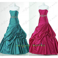 A-line Strapless Sleeveless Floor-length taffeta homecoming dress prom dress wedding dress Bridesmaid Dress With Beading