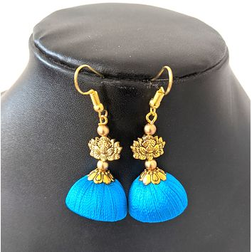 Silk Thread antique gold lotus center hook drop jhumka Earring