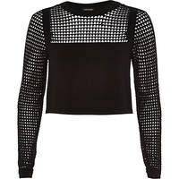 River Island Womens Black grid mesh top