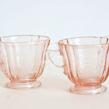 SALE: Federal Recollection Madrid Pattern Creamer and Sugar, Pink Depression Glass, Teatime Cottage Chic Decor