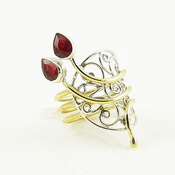 Ruby Sterling Silver Two Tone Open Scroll Work Ring