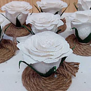 Rustic wedding decor,Set of 10 small white roses, Small table flowers, Rustic flower favors, Wedding table flowers, Flower decoration